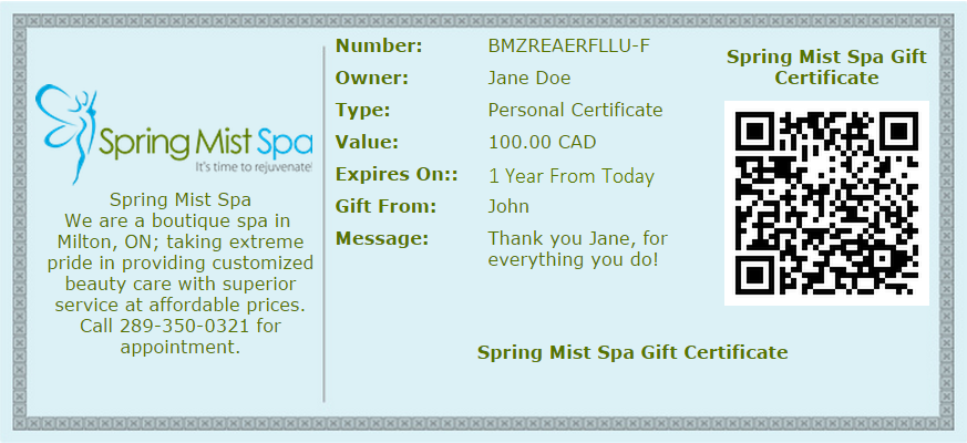 Spring Mist Spa Milton Gift Certificates - A perfect gift for all occasions!